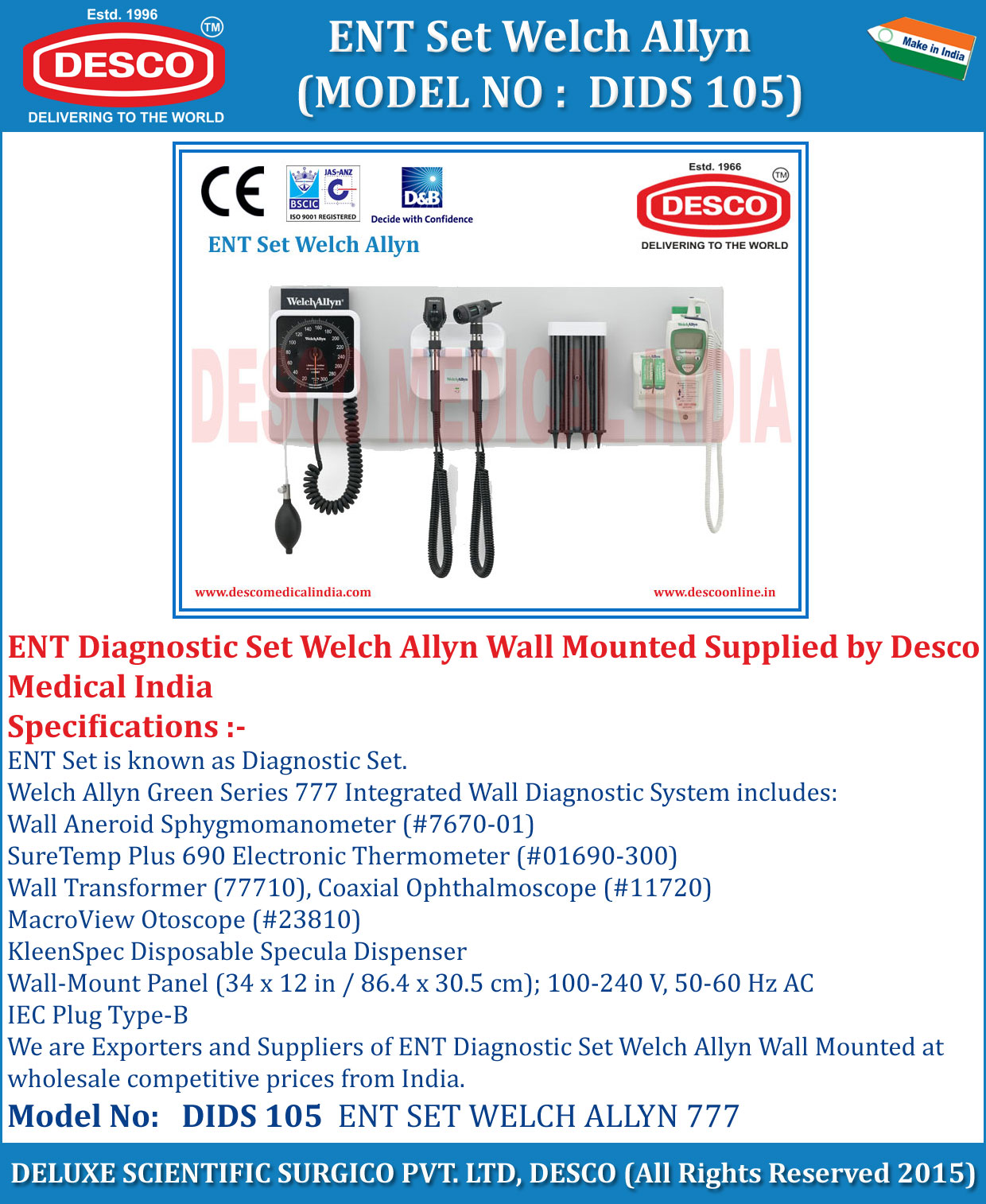 Welch Allyn Diagnostic Set Manufacturer Suppliers