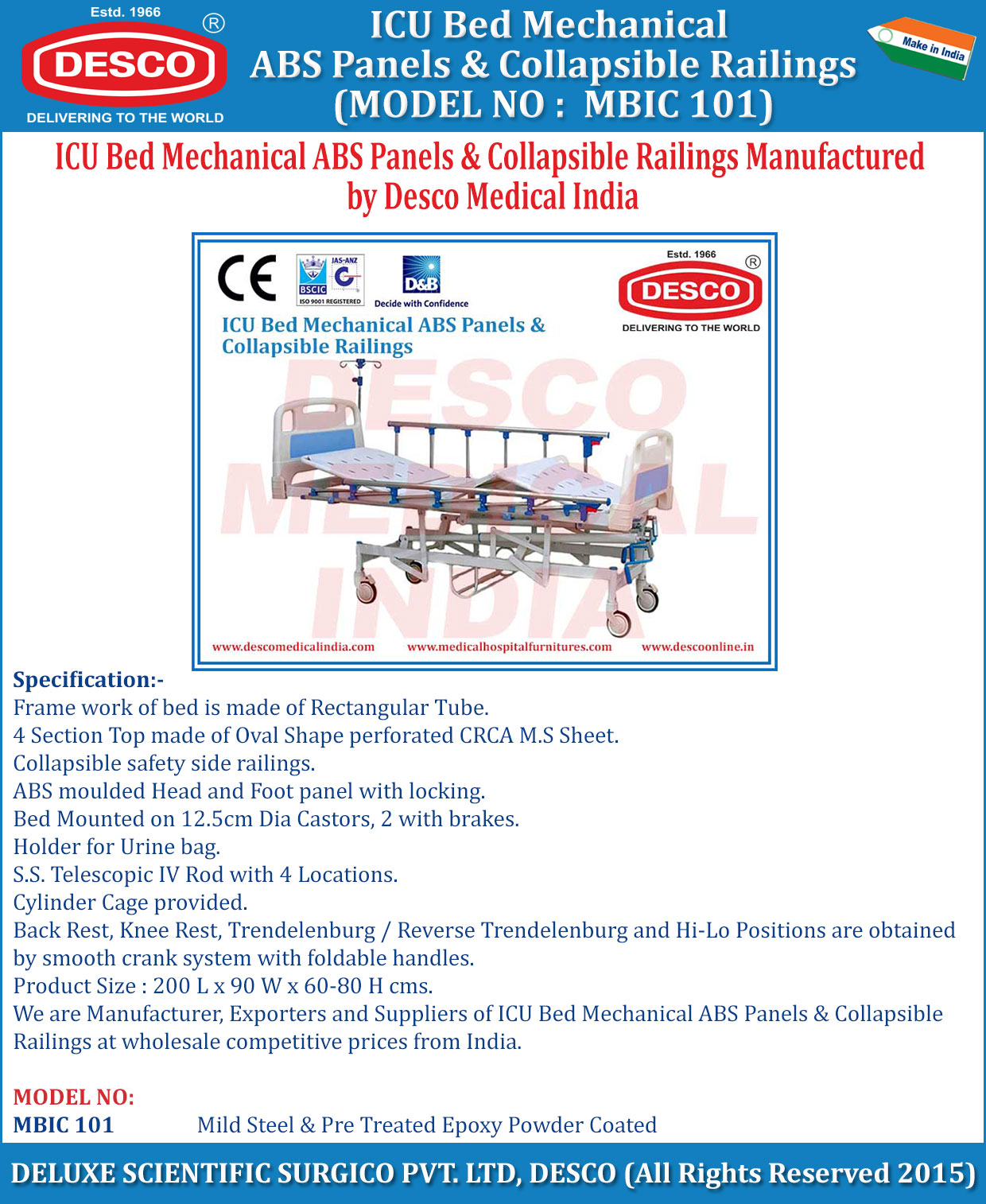 ICU Mechanical Bed ABS Panel & Collapsible Railing ...