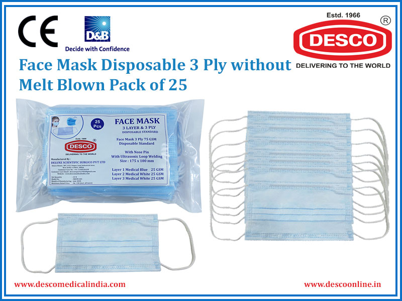 FACE MASK DISPOSABLE 3 PLY WITHOUT MELT BLOWN PACK OF 25