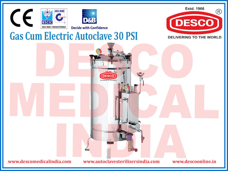 GAS CUM ELECTRIC AUTOCLAVE 30 PSI
