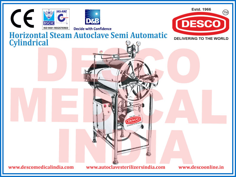 HORIZONTAL STEAM AUTOCLAVE SEMI AUTOMATIC CYLINDRICAL