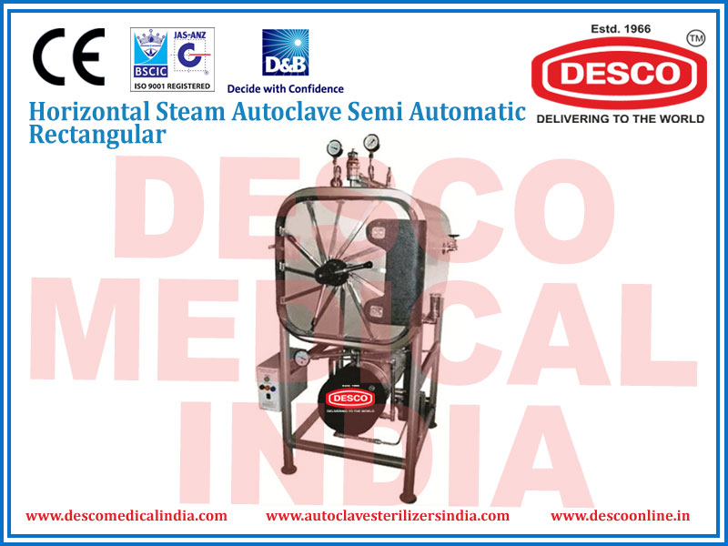 HORIZONTAL STEAM AUTOCLAVE SEMI AUTOMATIC RECTANGULAR