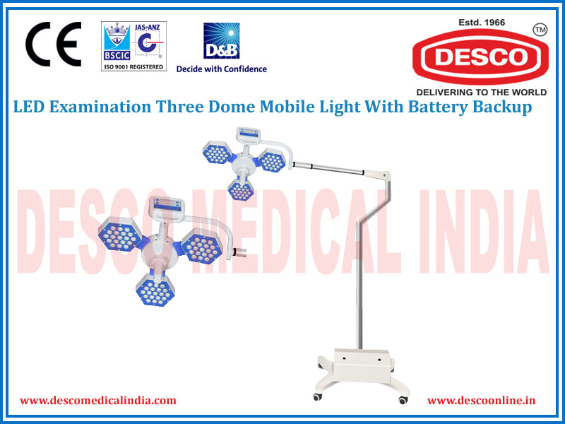 LED EXAMINATION THREE DOME MOBILE WITH BATTERY BACKUP LIGHT