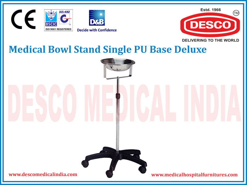 MEDICAL BOWL STAND SINGLE PU BASE DELUXE