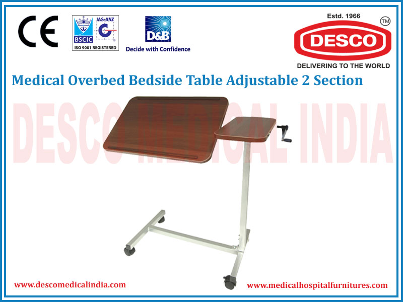 OVERBED BEDSIDE TABLE ADJUSTABLE 2 SECTION