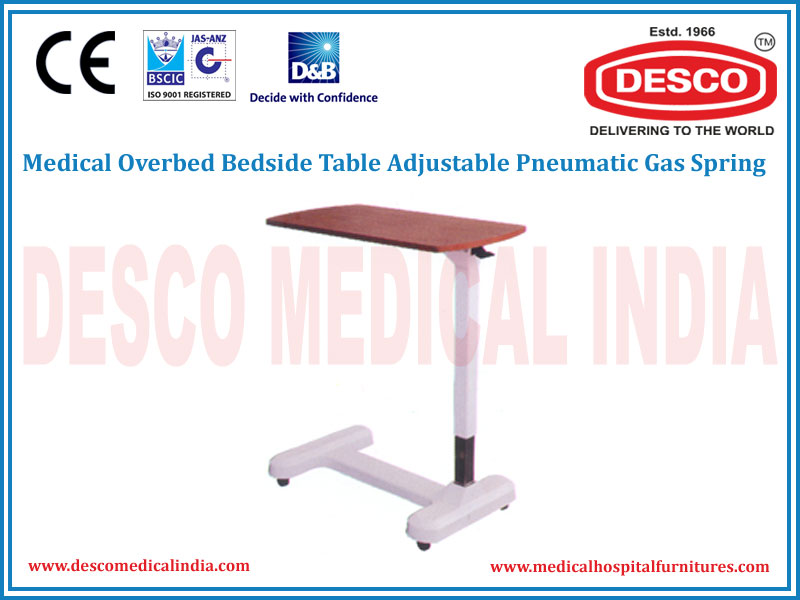 OVERBED BEDSIDE TABLE ADJUSTABLE PNEUMATIC GAS SPRING
