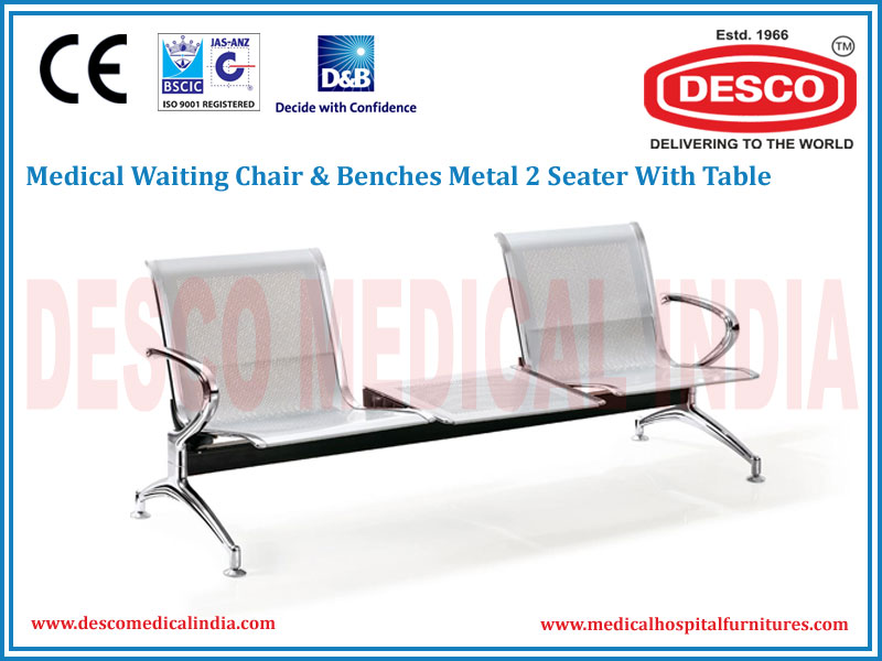 WAITING CHAIR & BENCHES METAL 2 SEATER WITH TABLE
