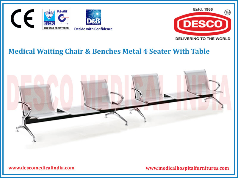 WAITING CHAIR & BENCHES METAL 4 SEATER WITH TABLE