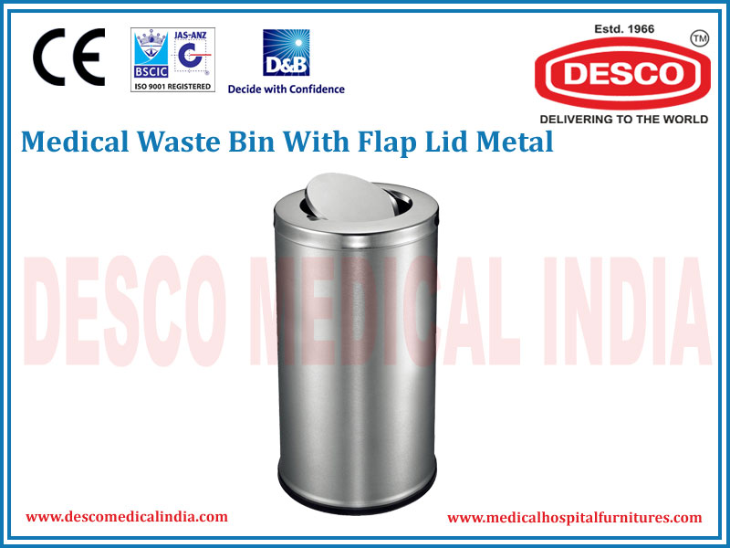 WASTE BIN WITH FLAP LID METAL