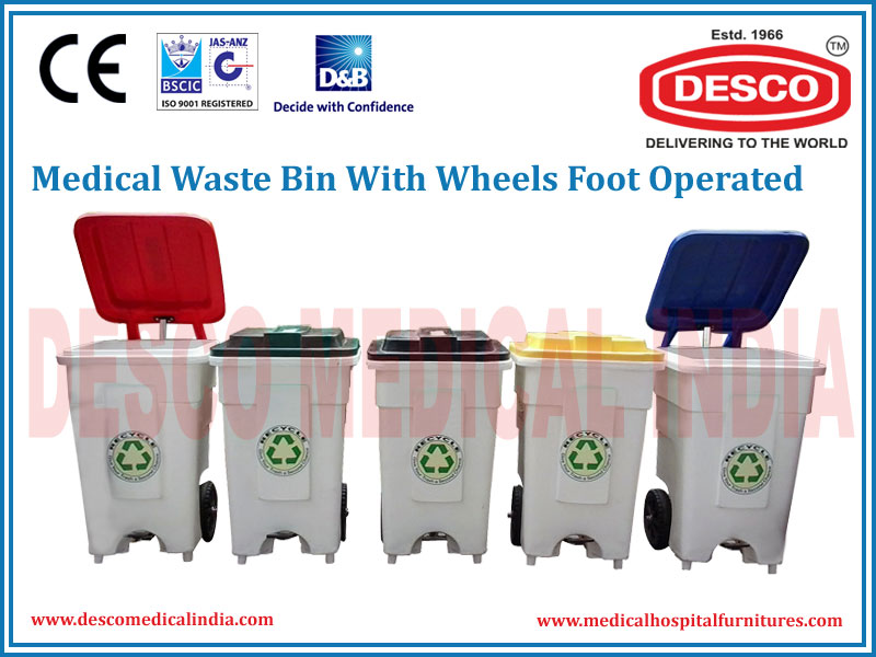 WASTE BINS WITH WHEELS FOOT OPERATED