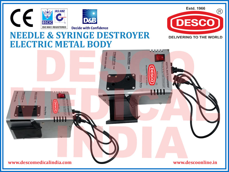NEEDLE & SYRINGE DESTROYER ELECTRIC METAL BODY