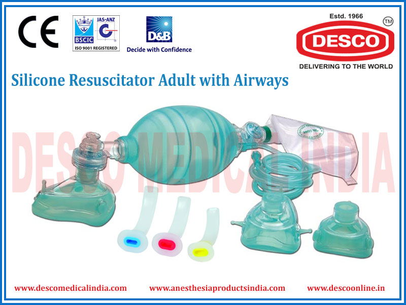 SILICONE RESUSCITATOR ADULT WITH AIRWAYS