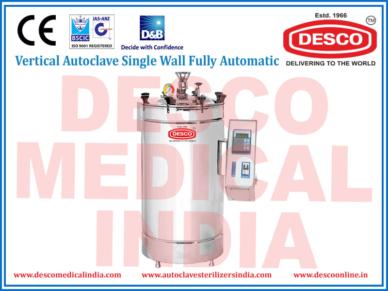 FULLY AUTOMATIC VERTICAL AUTOCLAVE SINGLE WALL